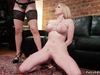 Full-Bosomed blond hair lady spanked and bum humped