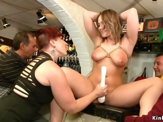 Innocent natural full-breasted babe fucks in bar