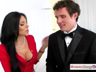 Nipple pierced stepmom bounces on hard cock